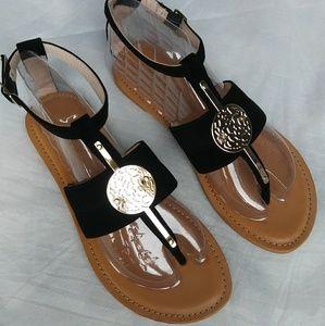 Medallion - Embellished Black Suede Sandal